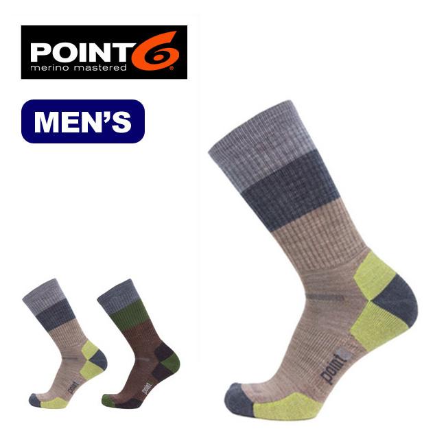 ポイントシックス POINT6 ブロックストライプライトクルー  メンズ 男性用 靴下 ソックス ウール スパンデックス アウトドアポイント6