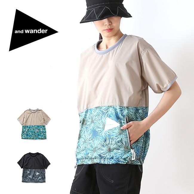 アンドワンダー パインプリンテッドウィンドT and wander pine printed wind T メンズ ウィメンズ レディース Tシャツ ショートスリーブT 半袖 プリントT <2018 春夏>