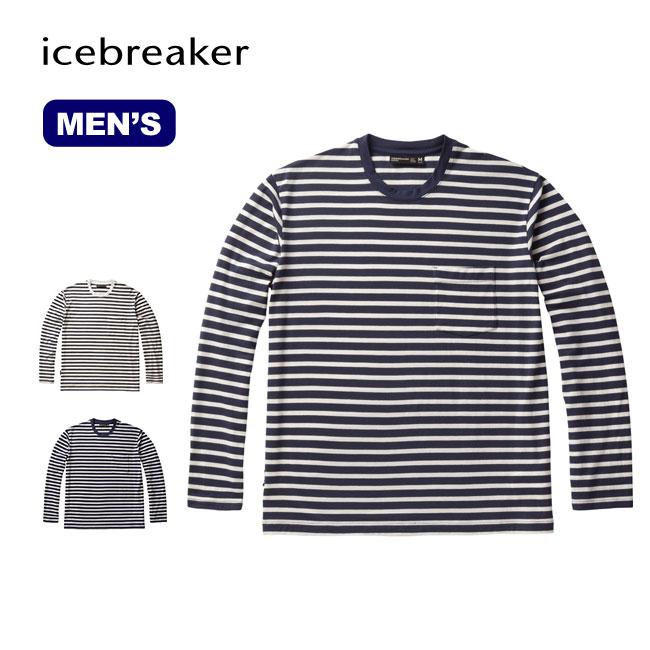 アイスブレーカー Mリュクス ライト ロングスリーブ ポケット クルー Icebreaker M LUXE LITE LS POCKET CREWE メンズ ベースレイヤー ロングスリーブ 長袖 Tシャツ ボーダーシャツ 男性<2018 春夏>