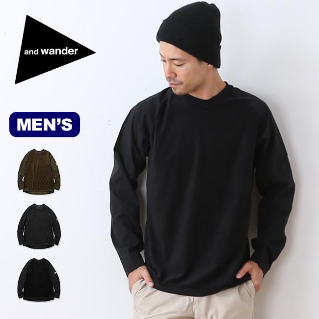 アンドワンダー フリースベースT and wander fleece base T メンズ Tシャツ 長袖 ロングスリーブT フリース ベースレイヤー <2018 秋冬>