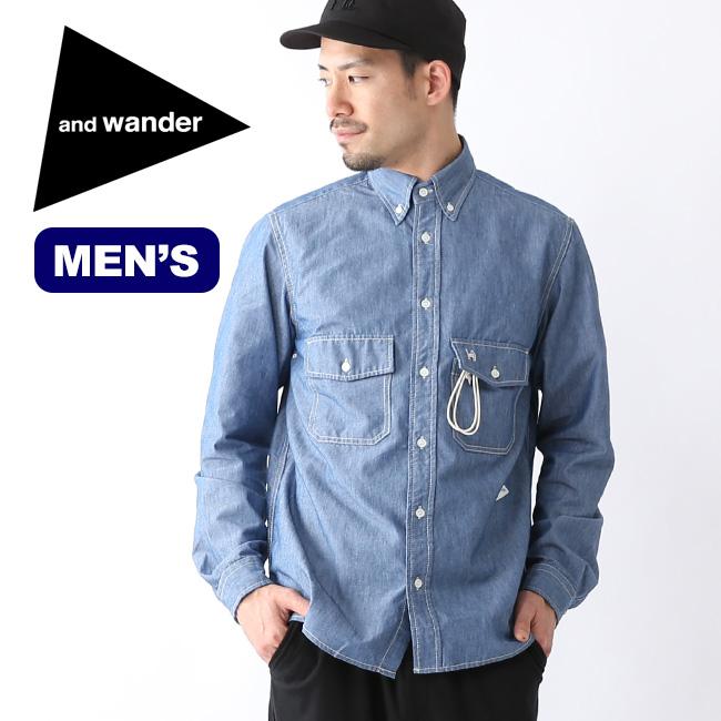 アンドワンダー PL ダンガリーシャツ メンズ and wander PL dungaree shirt (M) トップス シャツ AW-FT776 <2019 春夏>