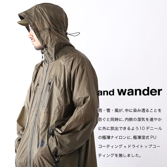 アンドワンダー フライレインロングコート and wander fly rain long coat メンズ レディース レインコート ポンチョ ハードシェル AW91-FT003 <2019 春夏>