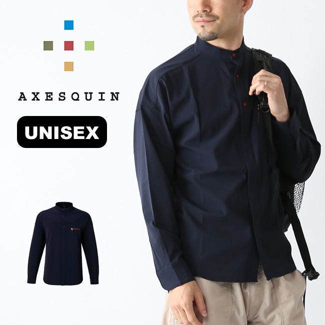 アクシーズクイン ヒトリシズカ stand collar AXESQUIN メンズ AS1843 スタンドカラーシャツ トップス 長袖 ロングスリーブアウトドア