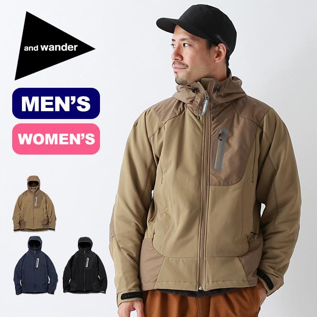 アンドワンダー ストレッチシェルジャケット and wander stretch shell jacket メンズ レディース AW93-FT001 アウター ソフトシェル フーディー <2019 秋冬>