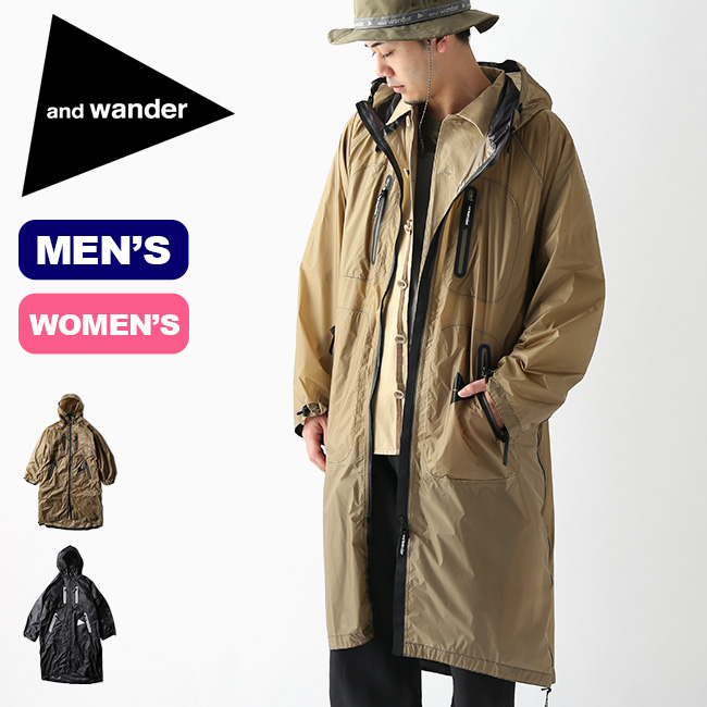 100%正規品 アンドワンダー フライレインロングコート and wander fly rain long coat メンズ レディース 5740111004 レインコート ポンチョ 2way キャンプ アウトドア【正規品】, アシストワン 5de49f66