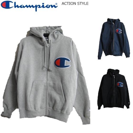 Champion ビッグロゴワッペンジップスウェットパーカーC3-E128アクションスタイル チャンピオン ACTION STYLE