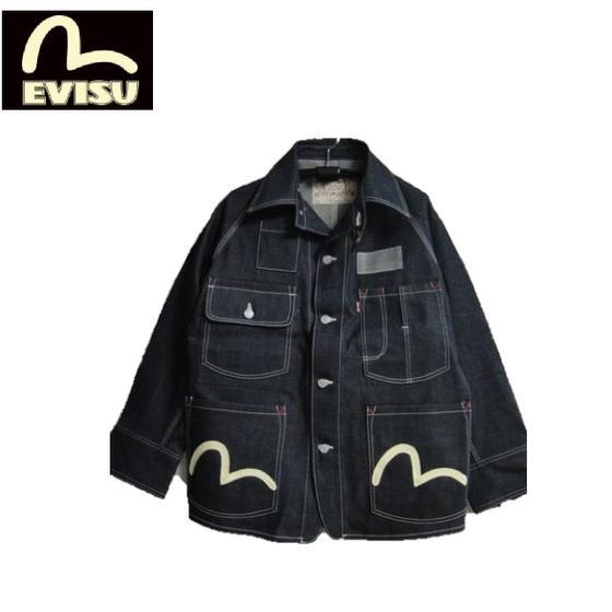 EVISU Lot.#1119 インディゴデニムカバーオールカモメペイントCOVERALL(INDIGO DENIM)(エヴィスジーンズ)EJD-1119ID-001 EJD1119ID001