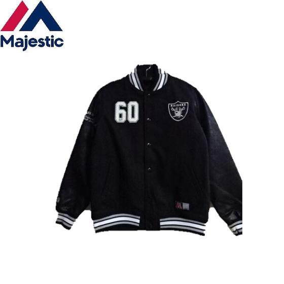 Majestic NFL(オークランドレイダース)メルトンxフェイクレザーススタジアムジャンパー(スタジャン)Oakland Raiders☆マジェスティックFM23-OR-8F01