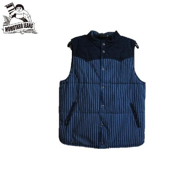 桃太郎ジーンズ☆ウォバッシュストライプ中わたベストWabash Stripe Vest☆04-017★MOMOTARO JEANS(モモタロウジーンズ)
