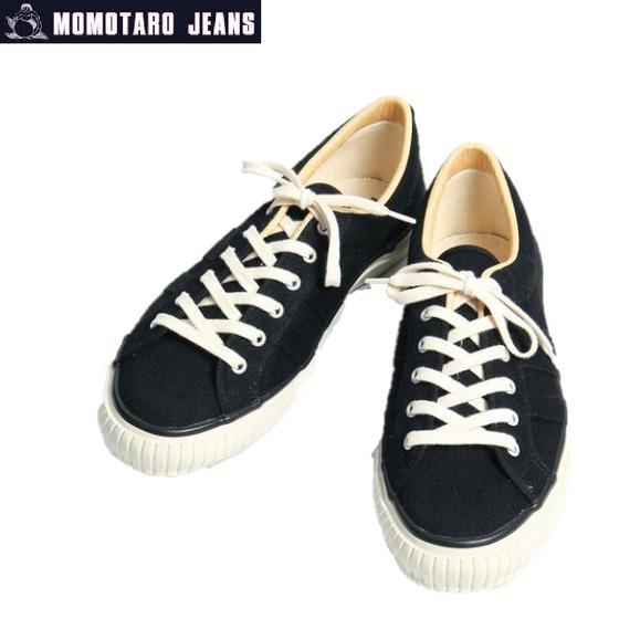桃太郎ジーンズ ブラックデニム出陣スニーカー SPS-001 BLACK★MOMOTARO JEANS(モモタロウジーンズ)
