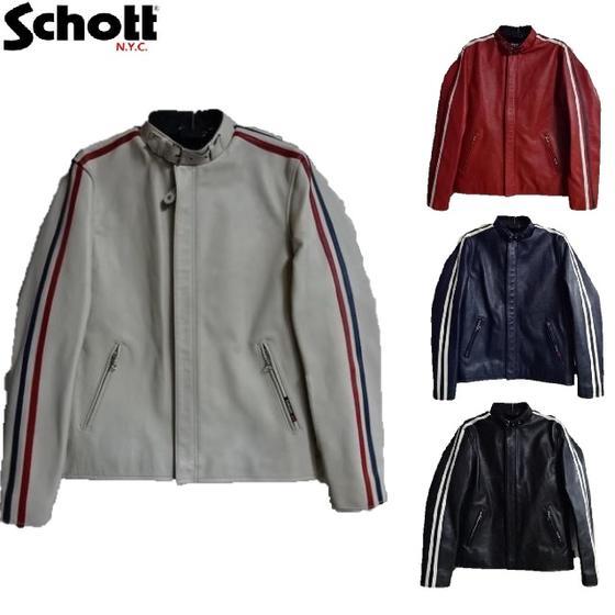 Schott USED加工C.R.J.袖ラインレザーライダースジャケットクラシックレーサージャケットClassic Racer Jacket 3181052☆Schottショット