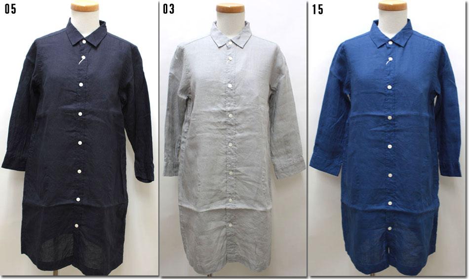 ●RINEN  【リネン】 80/1リネン平織りレギュラーカラーロングシャツ 31518