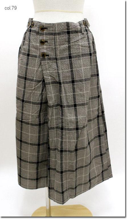 ●Leshyforest【レーシーフォレスト】 チェック柄巻きスカート風パンツ  3910-123-28