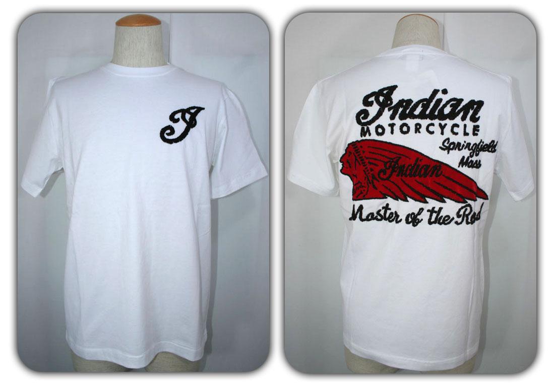 ●Indian Motorcycle 【インディアンモーターサイクル】 半袖Tシャツ HAND LOGO EMBROIDERY モデル IM73918