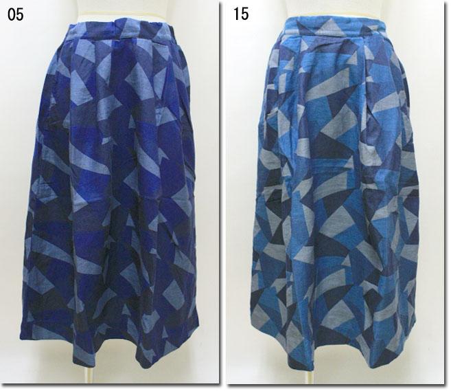 ●prit 【プリット】 幾何学柄ジャガードタックフレアースカート 72827