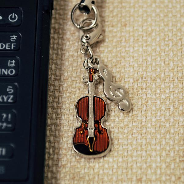 ミニチュア楽器 携帯ストラップシリーズ 開催中 お取り寄せ商品です 激安超特価 バイオリン 弦楽器 携帯ストラップ-音楽雑貨 携帯ストラップ