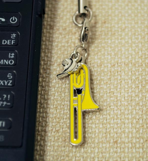 ミニチュア楽器 保証 携帯ストラップシリーズ お取り寄せ商品です トロンボーン 管楽器 携帯ストラップ-音楽雑貨 激安卸販売新品 携帯ストラップ