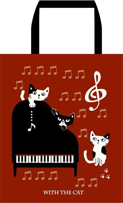 ファスナー付きA4トート 発表会記念品大量注文できます ピアノ発表会記念品 ちょっとしたプレゼントに お取り寄せ商品です ピアノ発表会 記念品 記念品に最適 誕生日 お祝い に最適 ねこ雑貨 音楽雑貨 バレエ雑貨 限定モデル 音楽会粗品