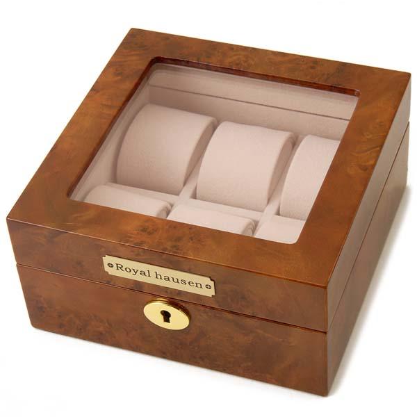 ロイヤルハウゼン Royal hausen 時計収納ケース10代 20代 30代 40代 50代 60代 公式 新品 通常便なら送料無料 GC02-LG3-06 ブラウン 6本収納 ウォッチケース 時計雑貨 お得クーポン発行中 時計収納ケース ケース 正規品 腕時計
