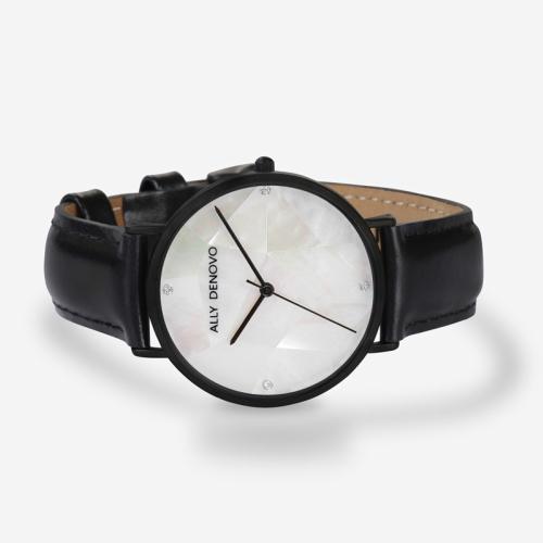 【腕時計】ALLY DENOVO 腕時計 GaiaPearl ガイアパール 36mm ブラックホワイト/ブラック(メンズ・レディース・ウォッチ・プレゼント・AF5003-4)