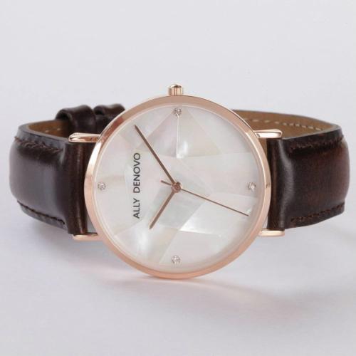 【腕時計】ALLY DENOVO 腕時計 GaiaPearl ガイアパール 36mm ローズゴールドホワイト/ブラウン(メンズ・レディース・ウォッチ・プレゼント・AF5003-2)