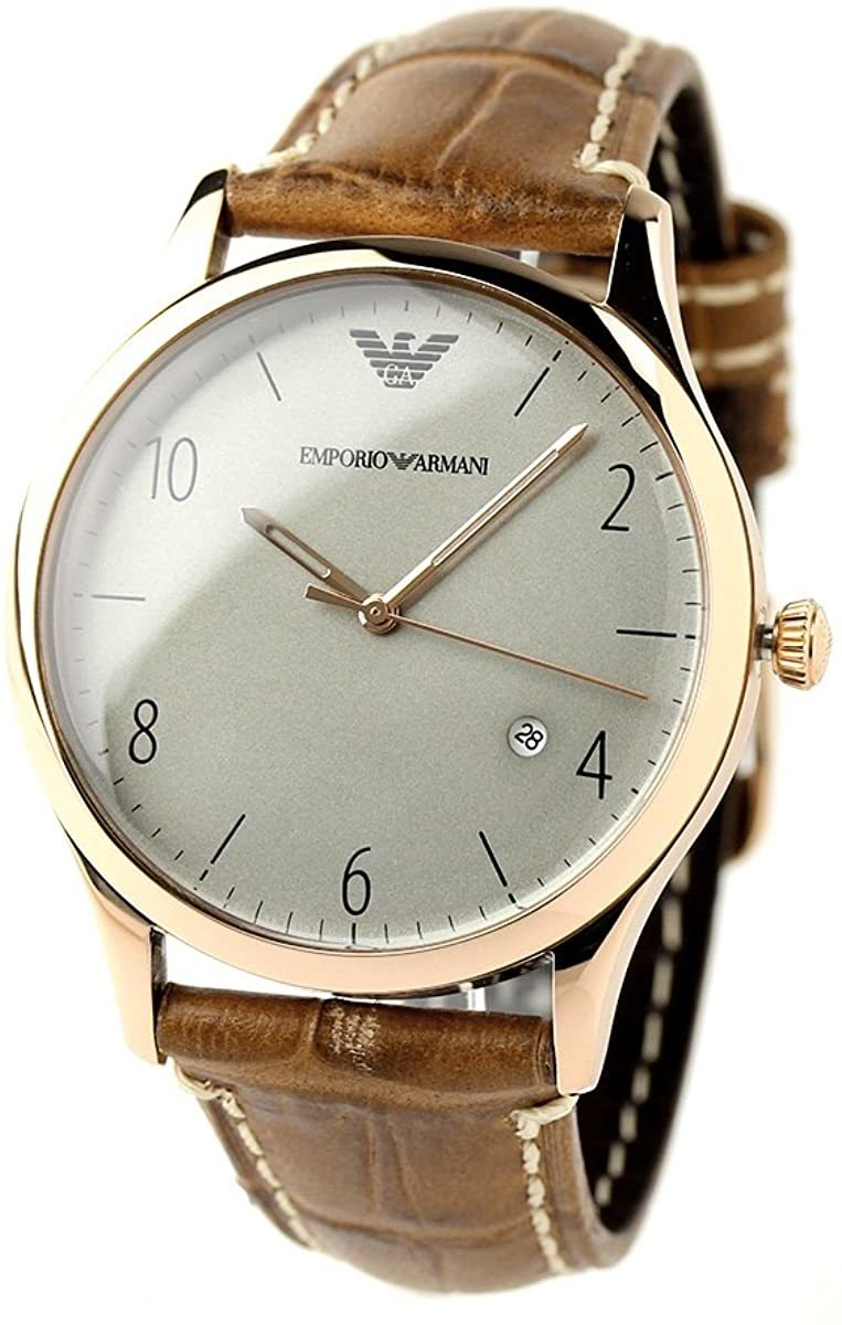 エンポリオアルマーニ 腕時計 メンズ クラシック グレー × ブラウン AR1866 EMPORIO ARMANI ウォッチ 並行輸入品