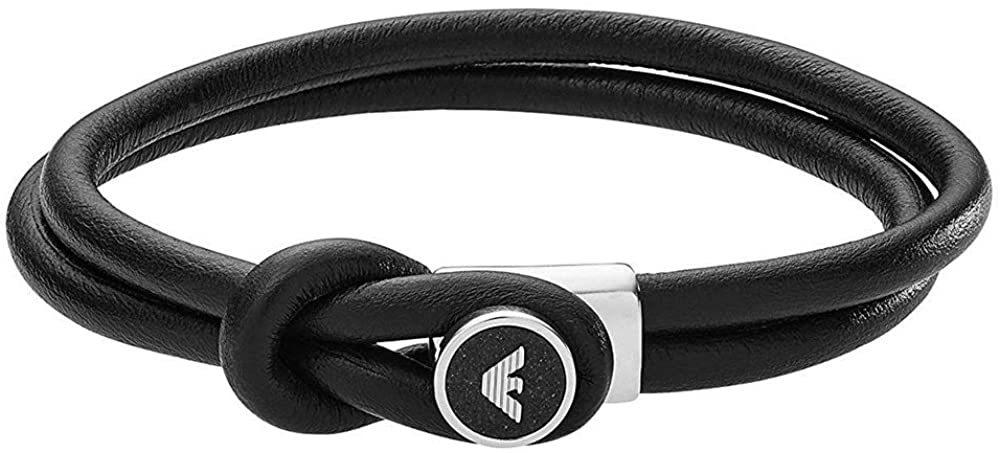エンポリオアルマーニ ブレスレット メンズ レディース レザーブレスレット ブラック シルバー EGS2212040 EMPORIO ARMANI 並行輸入品