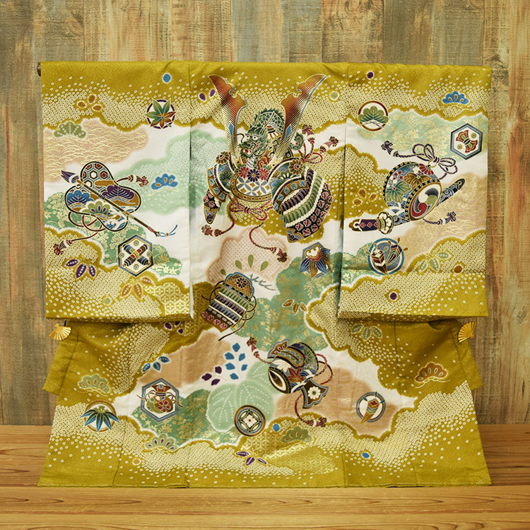 【レンタル】往復送料無料!【お宮参り産着 男の子 祝着】男児/初着/かぶと/兜/龍/龍/マスタード/からし/赤ちゃん/ベビー/baby/シック/豪華/かっこいい/おしゃれ ひよこ商店 kimono omiyamairi