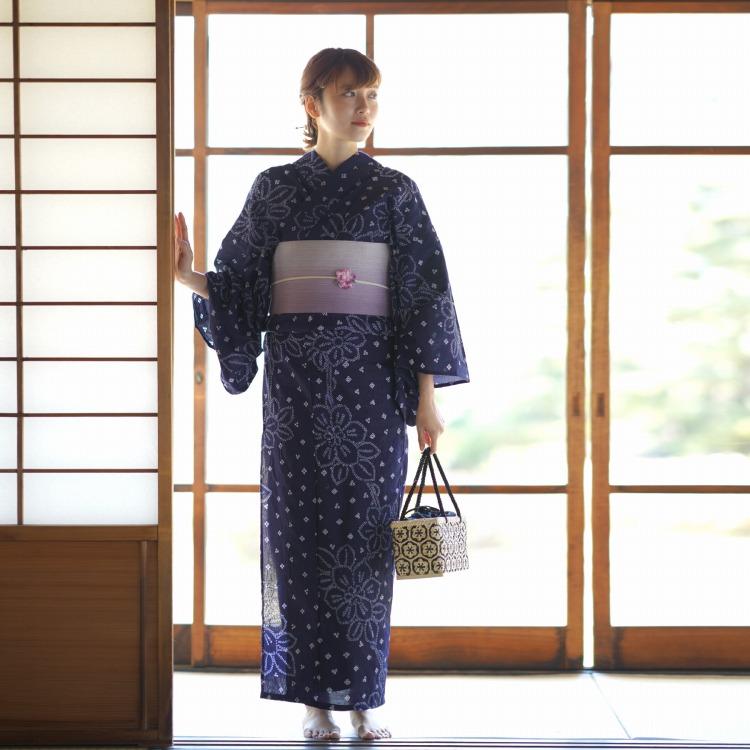 【有松絞り浴衣3点セット 紺色 ネイビー 藍色 白 花】高級お仕立て上がりゆかた 浴衣セット ゆかた 女性 レディース フリーサイズ