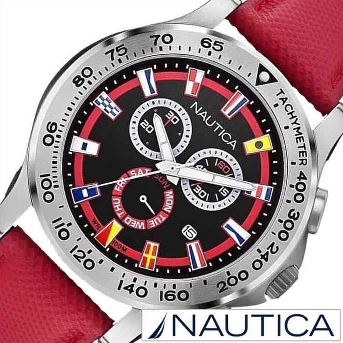 ノーティカ腕時計 NAUTICA時計 NAUTICA 腕時計 ノーティカ 時計 フラッグ NST600 CHRONO FLAG メンズ ブラック×レッド A19596G [ 正規品 人気 スポーティー ブランド ギフト プレゼント ご褒美]
