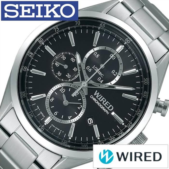 ワイアード腕時計 WIRED時計 WIRED 腕時計 ワイアード 時計 メンズ ブラック AGAV109 [アナログ クロノグラフ スタンダードクロノ クロノグラフモデル シルバー 銀 黒 7針 7T92 プレゼント ギフト お祝い][おしゃれ 腕時計]