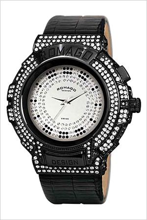 ロマゴデザイン腕時計 [ROMAGODESIGN時計](ROMAGO DESIGN 腕時計 ロマゴ デザイン 時計) シリーズ (Trend series) メンズ レディース シルバー RM025-0256ST-BKBK [クリスタル ストーン ミラーウォッチ ブラック 黒 銀 3針][ おしゃれ ブランド 防水 ]