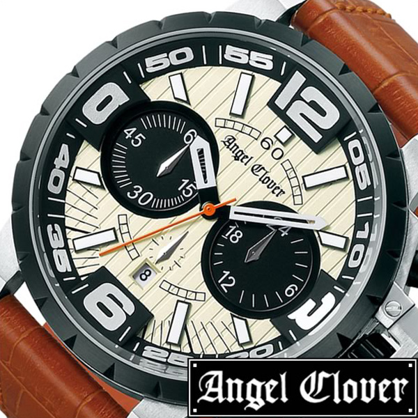 [当日出荷] エンジェルクローバー 時計[AngelClover 時計]エンジェル クローバー 腕時計[Angel Clover 腕時計]エンジェルクローバー時計 タイムクラフト メンズ アイボリー NTC48BSB-LB[クロノグラフ ブラック 白 ギフト プレゼント ご褒美 おしゃれ ブランド ]