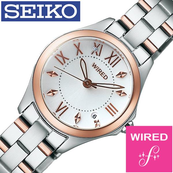 ワイアードエフ腕時計 WIREDf時計 WIRED f 腕時計 ワイアード エフ 時計 レディース ホワイト AGEK422 [メタル ベルト 正規品 SEIKO ペア モデル シルバー ローズゴールド ピンクゴールド][ギフト プレゼント ご褒美][おしゃれ 腕時計]