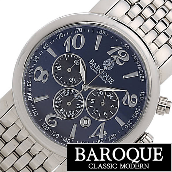 バロック 腕時計[BAROQUE 時計]バロック 時計[BAROQUE 腕時計]ジェニオ GENIO メンズ ネイビー BA1002S-03M [ 正規品 人気 新作 ブランド 防水 ステンレス ベルト シルバー ネイビー アンティーク スケルトン オートマ プレゼント ギフト][おしゃれ]