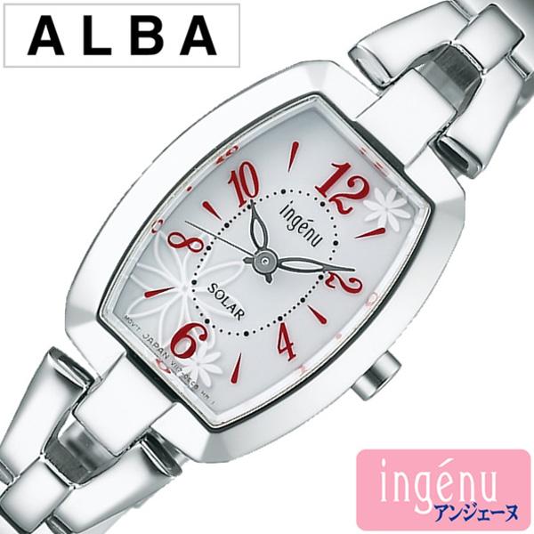 セイコー アルバ アンジェーヌ 腕時計 レディース (電池交換不要) ソーラー SEIKO ALBA ingene 腕時計 ホワイト AHJD059 [メタル ベルト シンプル シルバー レッド トノー フラワー プレゼント ギフト] 誕生日