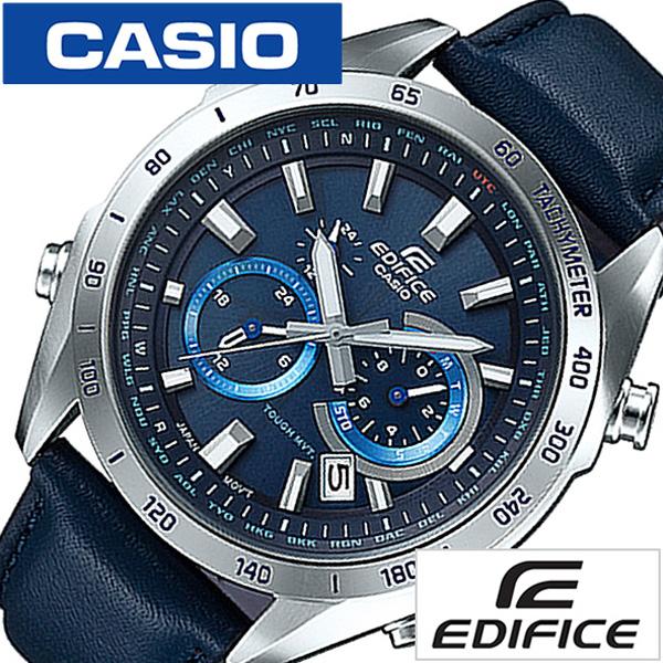 カシオ エディフィス 腕時計[CASIO EDIFICE 時計]カシオ エディフィス 時計[CASIO EDIFICE 腕時計 [カシオエディフィス 腕時計]エディフィス時計 メンズ ネイビー EQW-T620L-2AJF [革ベルト シルバー ネイビー][ ブランド プレゼント ギフト][おしゃれ]