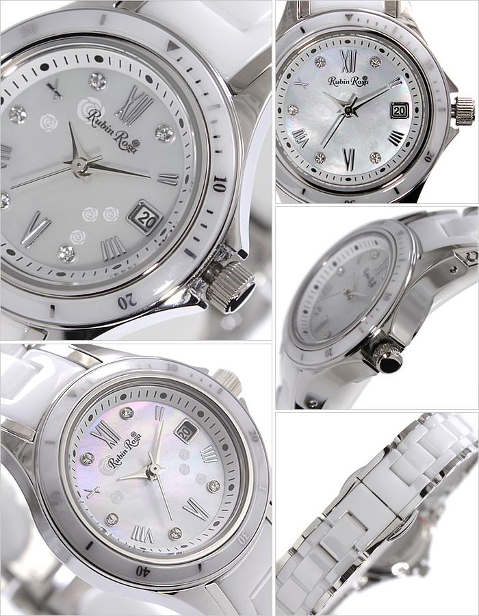 ルビンローザ 腕時計[RubinRosa 時計]ルビン ローザ 時計[RubinRosa 腕時計]ルビンローザ 時計 レディース ホワイト R306SWHMOP[ルビンローサ 新作 人気 流行 ブランド かわいい メタル セラミック ジルコニア ソーラー プチプラ おしゃれ ブランド プレゼント ギフト ]