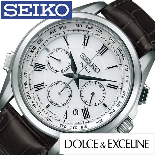 セイコー ドルチェ エクセリーヌ 腕時計[DOLCE EXCELINE 時計]ドルチェ&エクセリーヌ 時計[DOLCE&EXCELINE 腕時計]フライト エキスパート FLIGHT EXPERT メンズ ホワイト SADA039 [ドルチェ 革ベルト 電波時計 ソーラー]