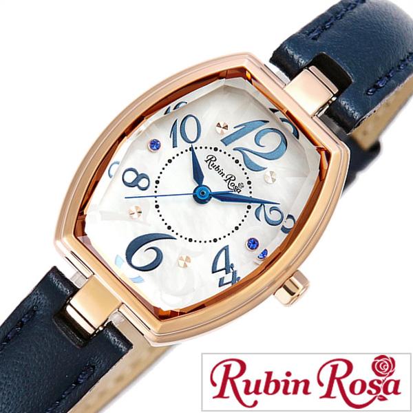 ルビンローザ 時計 レディース 女性 [Rubin Rosa] 腕時計 ホワイト R018PWHBL [新作 人気 ブランド かわいい 革 ベルト ソーラー ゴールド クリスタル 白蝶貝 ブルー おしゃれ ブランド プレゼント ギフト ]