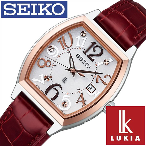 [当日出荷] セイコー ルキア 腕時計 レディース (電池交換不要) ソーラー 電波 セイコー腕時計 SEIKO時計 SEIKO 腕時計 LUKIA 時計 ホワイト SSVW094 [ 正規品 ブランド おすすめ 革 レザー ベルト レッド ピンクゴールド おしゃれ ]