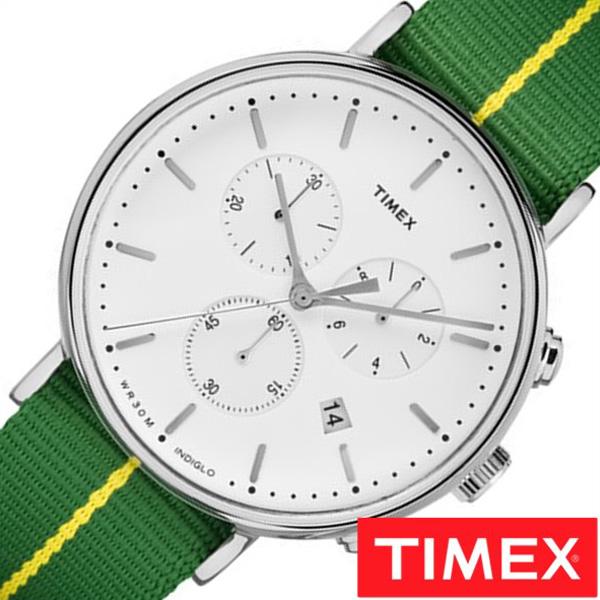 [あす楽]タイメックス腕時計 TIMEX時計 TIMEX 腕時計 タイメックス 時計 ウィークエンダー フェアフィールド クロノグラフ WEEKENDER FAIRFIELD 41MM メンズ 白 S-TW2R26900[ 正規品 ブランド シンプル ナイロン グリーン プレゼント ギフト]