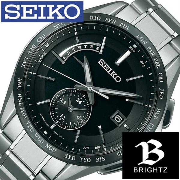 [当日出荷] セイコー腕時計 SEIKO時計 SEIKO 腕時計 セイコー 時計 ブライツ BRIGHTZ メンズ ブラック SAGA233 [新作 人気 正規品 ブランド 防水 電波(電池交換不要) ソーラー チタン シルバー おしゃれ ] 誕生日