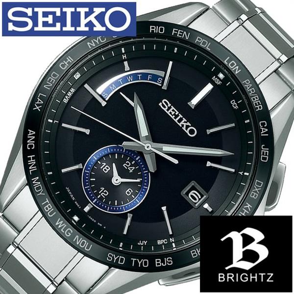 セイコー腕時計 SEIKO時計 SEIKO 腕時計 セイコー 時計 ブライツ BRIGHTZ メンズ ブラック SAGA235 [新作 人気 正規品 ブランド 防水 電波ソーラー チタン シルバー][おしゃれ 腕時計]