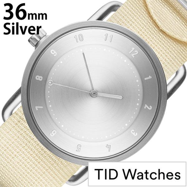 ティッドウォッチ腕時計 TIDWatches時計 TID Watches 腕時計 ティッド ウォッチ 時計 レディース シルバー TID02-SV36-NWH [正規品 人気 流行 ブランド 革 レザーベルト 北欧 シンプル ホワイト ナイロン][社会人]