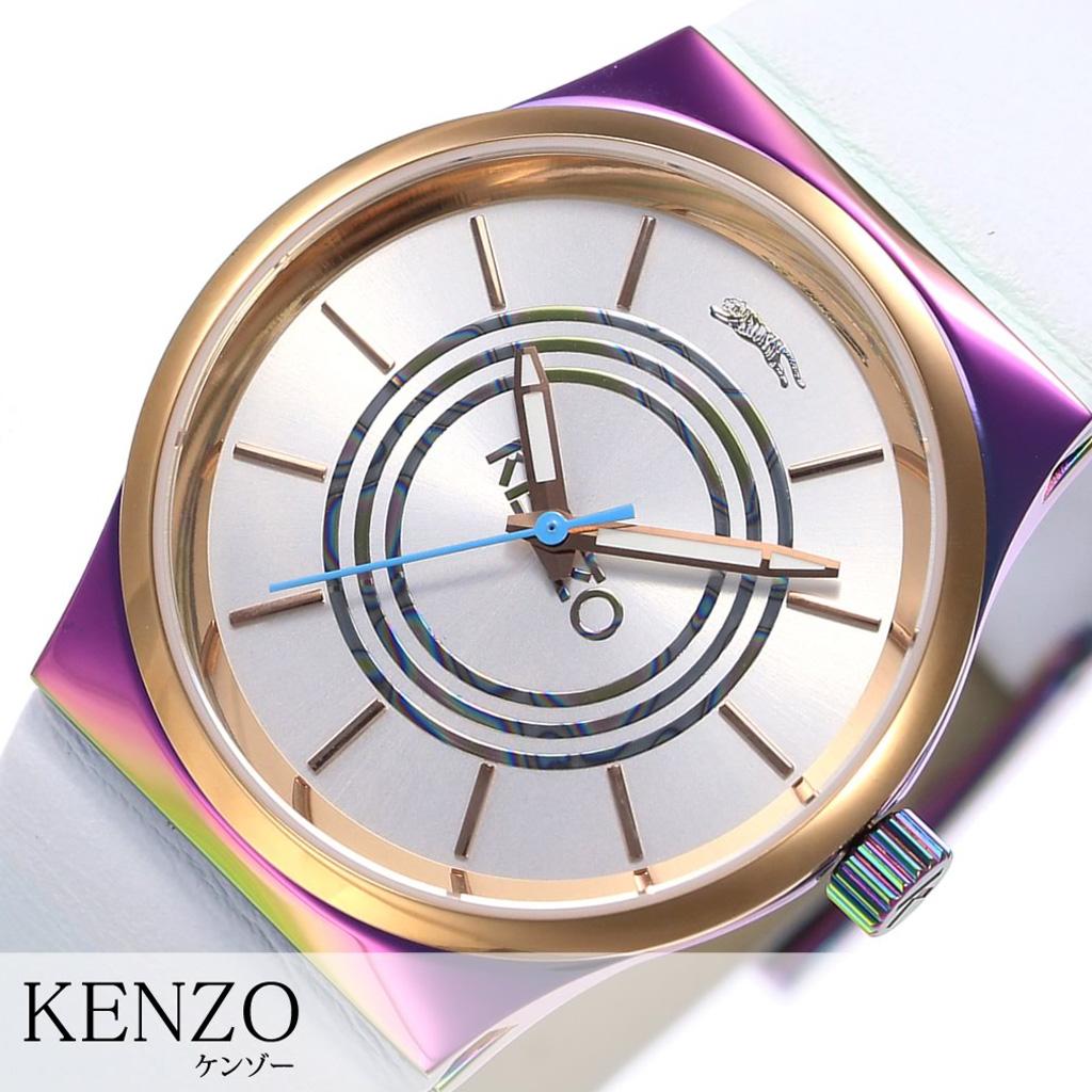 [あす楽]ケンゾー腕時計 KENZO時計 KENZO 腕時計 ケンゾー 時計 ホワイト K0042001 [人気 虎 トラ レザー ベルト 革 オーロラ レインボー ピンクゴールド プレゼント ギフト おしゃれ 腕時計] 誕生日