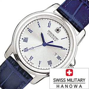 スイスミリタリー腕時計 SWISSMILITARY時計 SWISS MILITARY HANOWA 腕時計 スイス ミリタリー ハノワ 時計 ローマン ROMAN レディース シルバー ML-382 [ 正規品 人気 スイス 防水 プレゼント ギフト 革 レザー ベルト カレンダー ブルー]