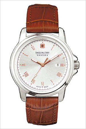 スイスミリタリー腕時計 SWISSMILITARY時計 SWISS MILITARY HANOWA 腕時計 スイス ミリタリー ハノワ 時計 ローマン ROMAN レディース シルバー ML-383 [ 正規品 人気 スイス 防水 プレゼント ギフト 革 レザー ベルト カレンダー ブラウン]