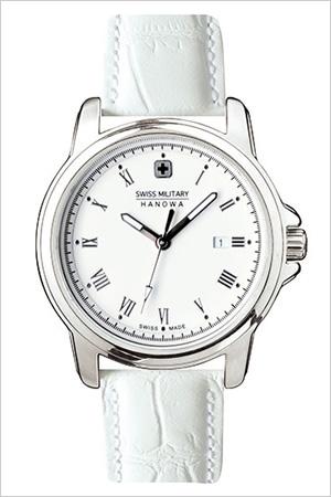 スイスミリタリー腕時計 SWISSMILITARY時計 SWISS MILITARY HANOWA 腕時計 スイス ミリタリー ハノワ 時計 ローマン ROMAN レディース ホワイト ML-410 [ 正規品 人気 スイス 防水 プレゼント ギフト 革 レザー ベルト カレンダー シルバー]
