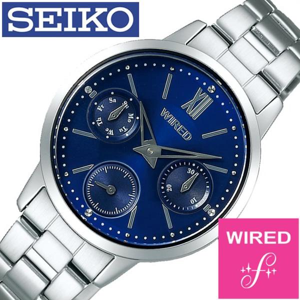 セイコー腕時計 SEIKO時計 SEIKO 腕時計 セイコー 時計 ワイアード エフ WIRED f レディース ブルー AGET405 [ 正規品 人気 ブランド プレゼント ギフト ビジネス メタル ペアウォッチ カレンダー]